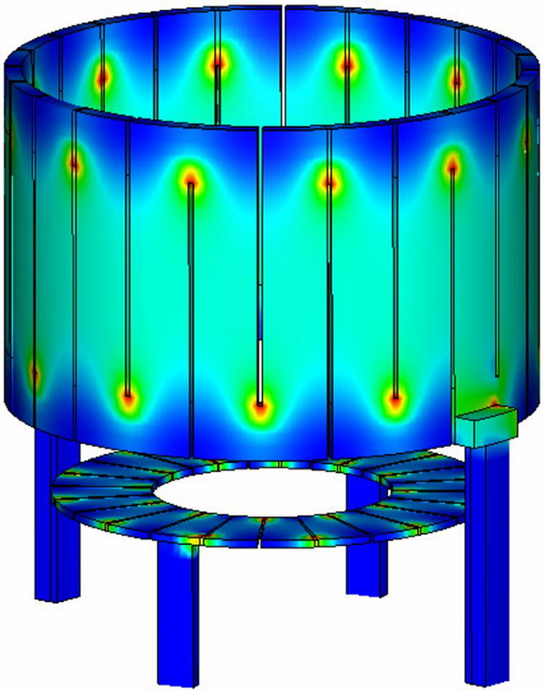 Detailed 3D distribution of heat release in the heaters in Cz Si