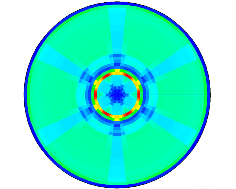 Threading dislocation density in SiC crystal cross-section. Simulation results